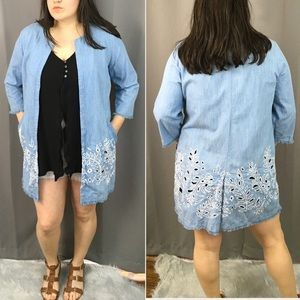 Chico's chambray embroidered longline jacket xl